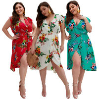 Women Plus Floral Printed V-Neck Midi Dress Fashion Summer Holiday Beach Boho