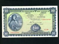 Ireland:P-66b,10 Pounds,1969 * Lady Hazel Lavery * VF *