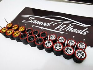 10 set 10-12mm MIX RED LINE Samed Wheels 5 bolt 1:64 rubber wheels #62