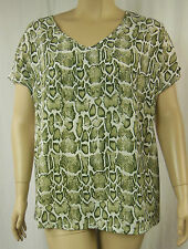 Autograph Cream Khaki Animal Print Short Sleeve Tunic Top Plus Size 16 BNWT #Z55
