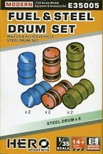 Fuel & Steel Drum Set 1/35 Scale WWII US Allied Vehicles Hero Hobby Kits E35005