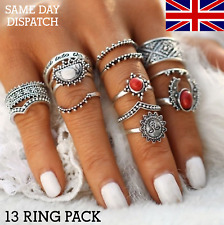 14Pcs/Set Silver Ethnic Rings Boho Festival Knuckle Midi Thumb Finger Ring ST74