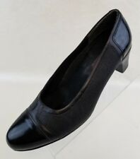 Munro American Pumps Cap Toe Womens Black Leather Slip On Shoes Size 9N