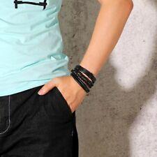 Men's Bracelets  casual Black style 4pcs leather jewelry charm