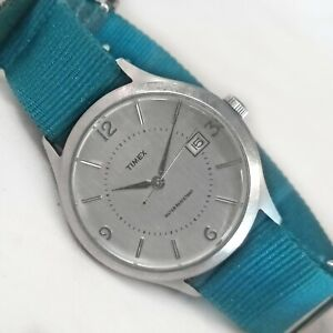 Timex J Crew Quartz Watch 2010 T2N321 Stainless Steel Teal NATO Band 35mm Mens