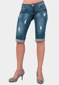 GANG Evita 3/4 Schmale Damen Jeans Shorts mit Stretch / Blau