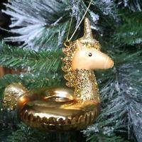 Einhorn Unicorn Glitzer Pailetten Figur Gold Baumschmuck Christbaumkugel Deko