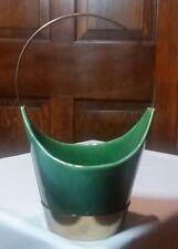 Royal Haeger Green Basket Planter with Metal Holder