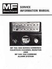 Massey Ferguson MF-540 MF-550 Combine Alarm System 750 760 850 Service Manual