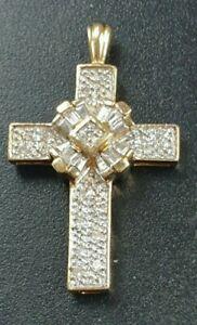 9ct Yellow Gold Natural Baguette & Round Brilliant Diamonds Cross Drop Pendant.