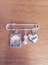 Grooms memoria Pin-Cuadrado Marco De Foto, fabricado con cristal de Swarovski perlas Nan