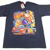 NWT Chase Authentics 2001 Jeff Gordan Dupont Mens Large Blue Racing T-Shirt