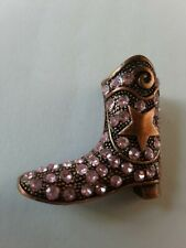 Star and Pink Stones Euc Cowboy Boot Pin With Lasso and