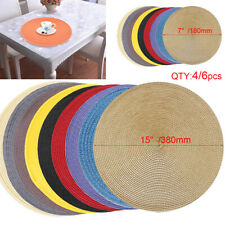 Round Weaved Table Mat Bowl Dish Nonslip Coaster Circle Placemats Tableware Pad