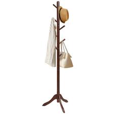 Wood Coat Hat Rack Stand Entryway Hall Tree Adjustable Height 8 Hooks Brown Gray