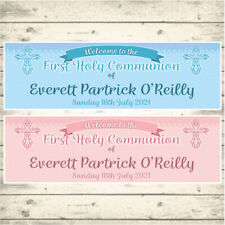 2 PERSONALISED FIRST HOLY COMMUNION BANNERS - WELCOME TO