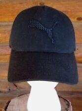 PUMA Flexfit Black Icon Cat Logo Mesh Trucker Baseball Cap Hat Size S/M