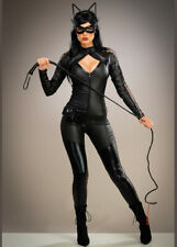 Womens Halloween Catwoman Style Black Wicked Adult Fancy Dress Costume
