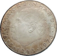 1973 AUSTRIA with Director Max Reinhardt Antique Silver 25 Schilling Coin i72042