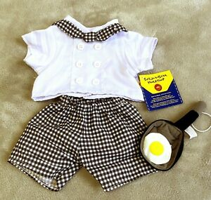 Build A Bear Workshop Chef Costume Outfit Shirt Shorts Pan 3 PC Black White