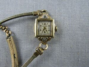 30's Bulova lady's wristwatch 10K gf diamonds 17 jewels Swiss parts repair