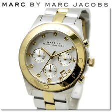 NEW MARC JACOBS GOLD TONE BEZEL SILVER DIAL TWO TONE CHRONO LADIES WATCH MBM3177