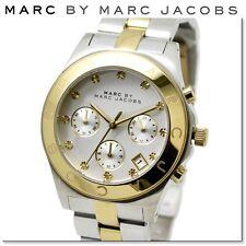 NUOVO MARC JACOBS GOLD TONE lunetta quadrante color argento due toni Chrono Orologio Donna mbm3177
