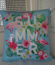 Pink Flamingos  Reversible Sequins Cushion Cover OZ SELLER