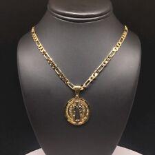 Cadena De 26 Pulgadas De Oro Laminado Con San Benito Tres Colores Medalla