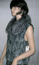 NEW NATURAL GRAY SWAKARA WITH SILVER FOX COLLAR FUR VEST,