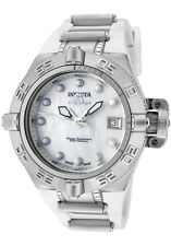 INVICTA SUBAQUA WHITE MOP DIAL DATE POLYURETHANE STRAP LADIES WATCH O539 NEW