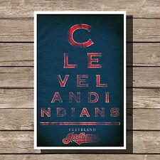 "Cleveland Indians Art Baseball MLB Eyechart Poster Man Cave Decor 12x16"""