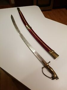 VINTAGE BRASS HANDLE CALVARY SWORD W/ RED VELOUR SHEATH MADE IN INDIA 34""
