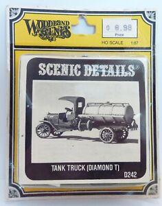 Tank Truck Diamond T Woodland Scenics HO KIT D242 White Metal Scenic Details