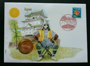 [SJ] Japan Flower 1990 Building Temple Warrior Culture FDC (coin cover)