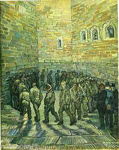 Prisoners Exercising,Prisoners Round by Vincent Van Gogh Giclee Print on Canvas