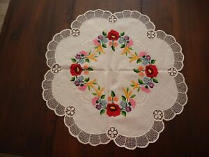 Vintage Hungarian Hand Embroidered KALOSCA Style Round Tablecloth