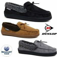 MENS FAUX SUEDE MOCCASIN SHEEPSKIN SLIPPERS LOAFERS WARM LINED SHOES SIZES 7-13