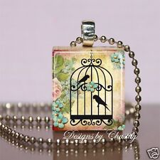 Birds Cage in a Rose Garden Scrabble Necklace Pendant Charm & Chain Tweet Bird