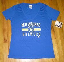 NWT Women's Majestic Milwaukee Brewers Royal Blue Short-Sleeve Top Size XXL