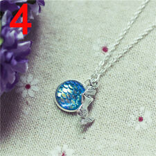 Women Fish Scale Pendant Mermaid Necklace Rainbow Chain Fashion Jewelry Gifts 3C