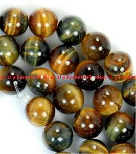 "AAA+ 6/ 8/10/12/14/mm Yellow Blue Tigers Eye Gemstone Loose Beads 15"""