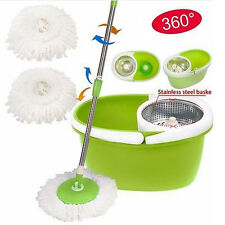 360°Rotating Magic Mop Stainless Steel Dehydrate Basket w/Bucket 2 Heads Green