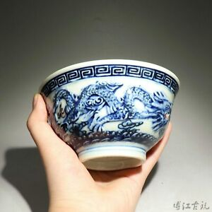 Collect Blue And White Porcelain Hand Paint Myth Double Dragon Bring Luck Bowl