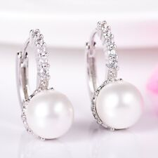 Womens Elegant Beaded Round Pearl Gemstone White Gold Filled Leverback Earrings