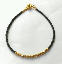"Afghan Black Glass Tiny Seed Beads Bracelet w/t Gold Plated Beads 7"" handmade"