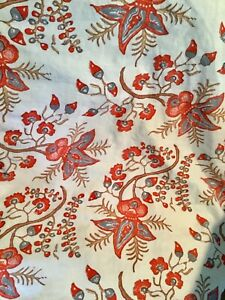 John Robshaw Queen Duvet Floral acorns siena red COTTON VGUC