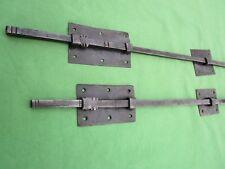 2 targettes bouton fer longue 43 & 70 cm porte double placard ancienne