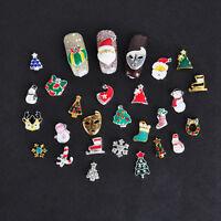 10Pcs 3D Christmas Design Alloy Jewelry Xmas Charm Nail Art Tips DIY Decorations