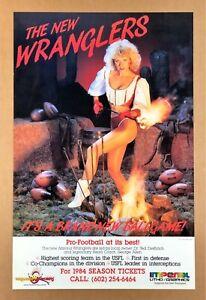 """THE NEW WRANGLERS"" (1984) *USFL FOOTBALL POSTER* Sexy Girl *ARIZONA CHEERLEADER"